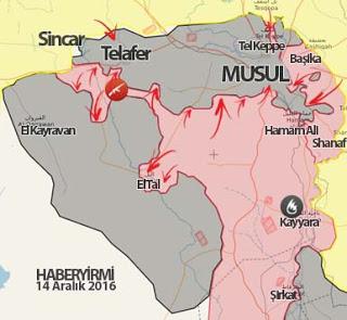 Musul son durum harita (14 Aralık)