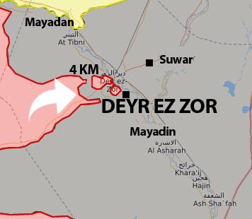 Deyr Ez Zor son durum harita 4 Eylül 2017