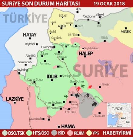 Suriye Hama, İdlib, Halep bölgesi son durum haritası/19 Ocak 2018 - HARİTA: Haberyirmi.net
