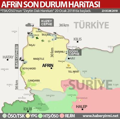 Afrin son durum haritası-23 Ocak 2018. TSK unsurlarının ilerleme hattı.