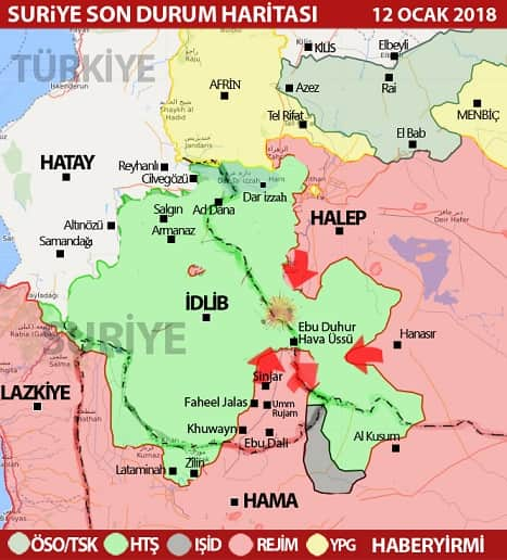 Suriye İdlib son durum harita 12 Ocak 2018. Haberyirmi