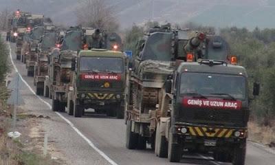 Afrin karşısındaki hudut karakollarına fırtına obüs ve zırhlı personel taşıyıcılar sevk edildi.