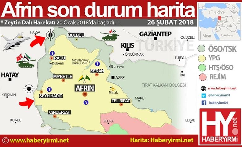 Afrin son durm harita 26-subat 2018: Kuzeydoğu hattında, Bübül ve Racu cebi birleşti. Şimdi açık kalan Şeyh Hadid cebinin batı cephesiyle birleştirilmesi hedefleniyor.