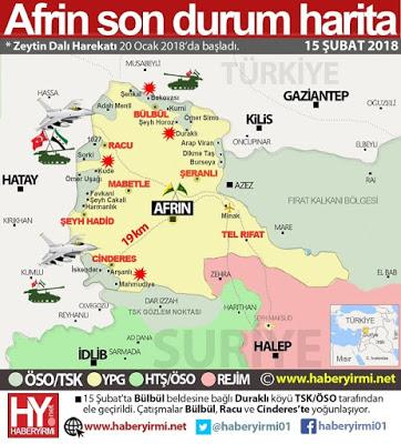 Afrin son-durum harita 15-Şubat 2018