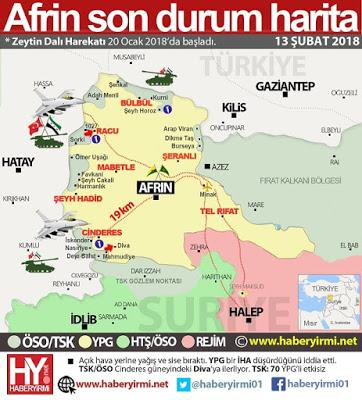 Afrin son durum harita. 13 Şubat 2018.