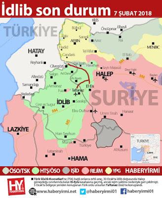 İdlib son durum harita 7 Şubat 2018