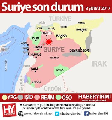 Suriye IŞİD Hama son durum harita 8 Şubat 2018