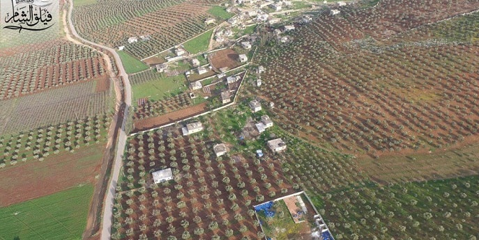 Afrin son durum harita. Cinderes güneydoğusunda, 3 km güneyindeki Kilah köyü.