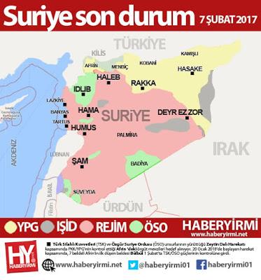 Suriye son durum harita 7 Şubat 2018. Haberyirmi