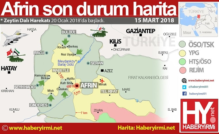 Afrin 15 Mart son durum harita