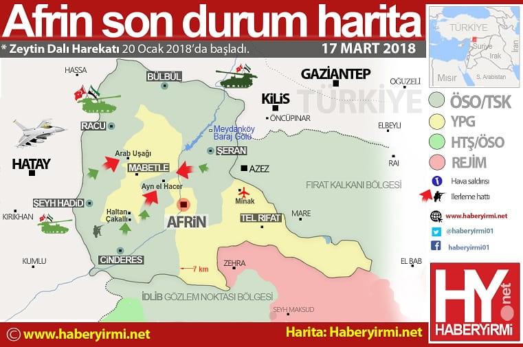 Afrin merkez son durum harita 17 mart 2018