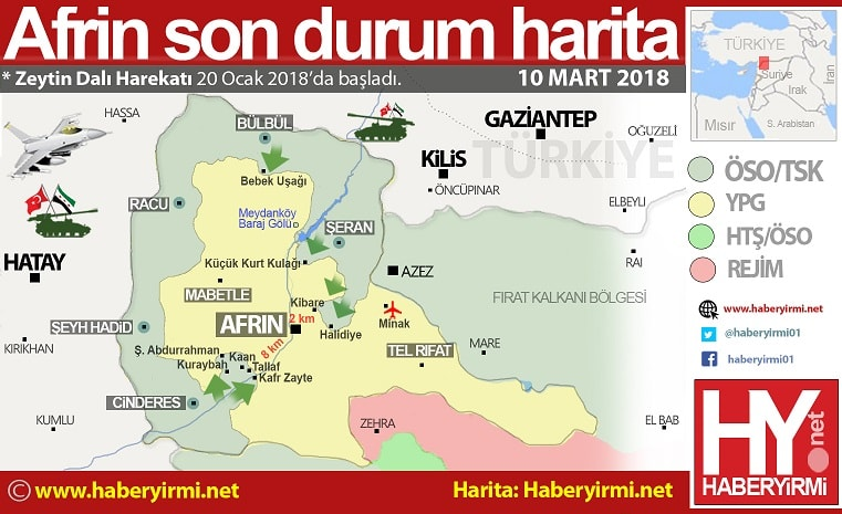 Afrin son durum harita 10 Mart 2018
