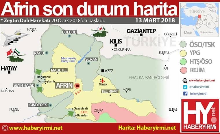 Afrin son durum harita 13 Mart 2018
