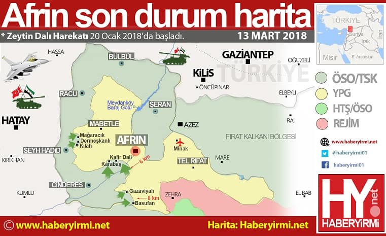 Afrin son durum harita 13 Mart 20181