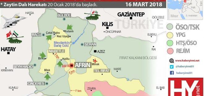 Afrin son durum harita 16 mart 2018