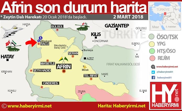 Afrin son durum harita 2 mart 2018