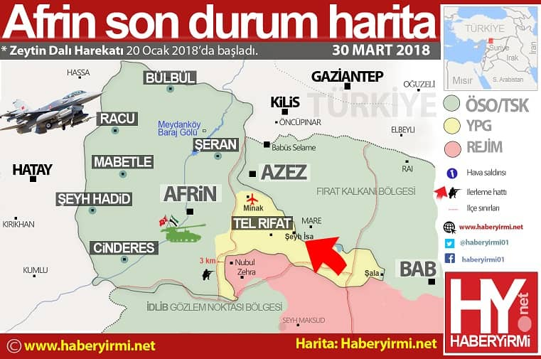 Afrin son durum harita 30 Mart 2018