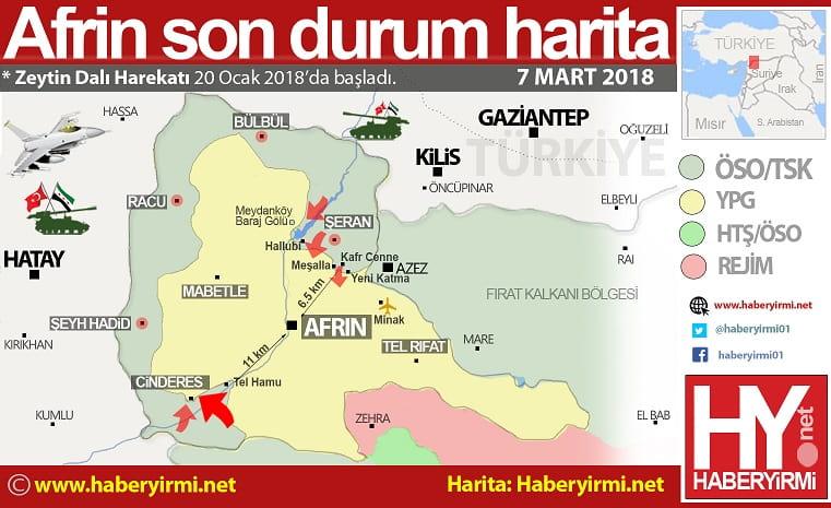Afrin son durum harita... 15.41 itibari ile...