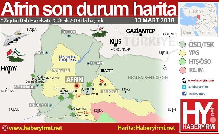 Afrin son durum son harita 13 Mart 2018