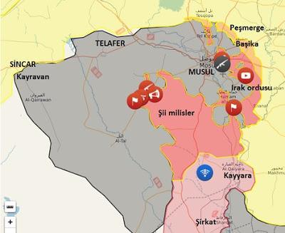 Musul son durum haritası 15 Kasım