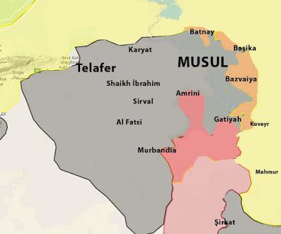 Musul Son Durum Harita: Irak kuzeyi Musul