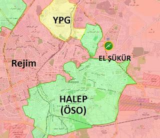Suriye kuzeyi Halep son durum harita