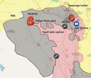 Irak Musul ve Telafer'de son durum harita