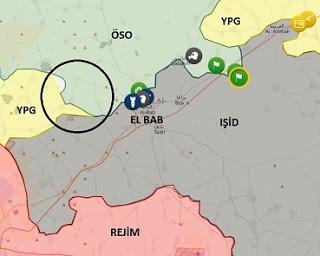 Suriye Halip kuzeyi El Bab bölgesi. YPG, daire içindeki alanda rejim güçleriyle ilerliyor.