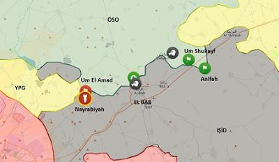 El Bab'ta son durum haritası:: Suriye Halep kuzeyi El Bab bölgesi Harita