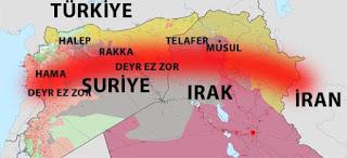 İran Irak ve Suriye'den geçerek Lübnan'dan Akdeniz'e çıkan Şii hilali