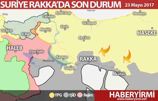 Suriye Rakka son durum harita 23 Mayıs 2017