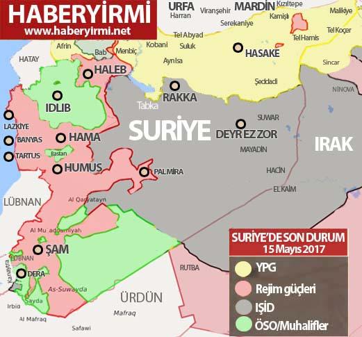 Suriye son durum harita 15 Mayıs 2017 Pazartesi