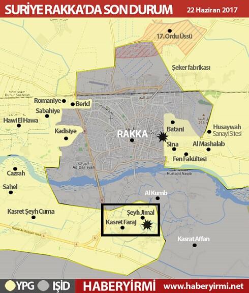 Suriye Rakka son durum haritası (22 Haziran 2017):