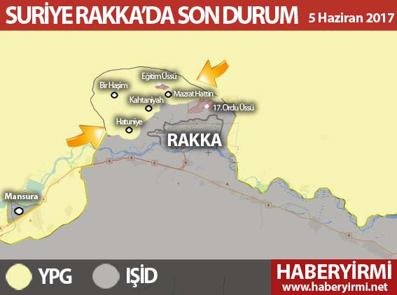Suriye Rakka son durum harita 5 Haziran 2017 Pazartesi güncel harita