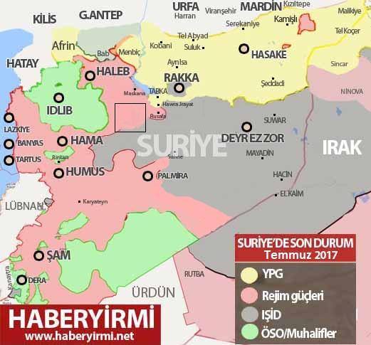 Suriye son durum harita 1 Temmuz 2017