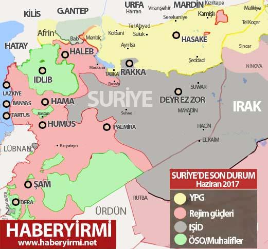 Suriye son durum güncel harita 14 Haziran 2017