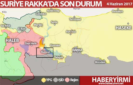 Suriye Halep ve Rakka son durum harita 4 Haziran 2017