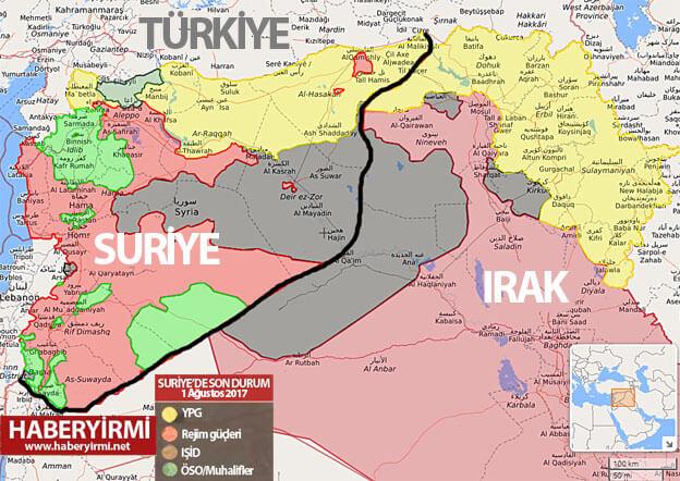 Suriye ve Irak'ta son durum harita (1 Ağustos 2017)