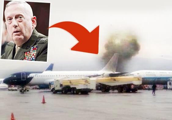 ABD Savunma Bakanı James Mattis'in (üst solda) uçağının bulunduğu alana saldırı/Kabil