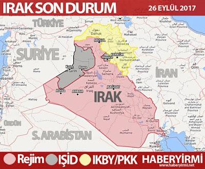 Irak son durum harita 26 Eylül 2017 Irak genel haritası