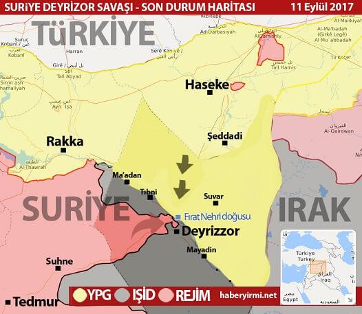 Deyrezzor son durum harita eylül 2017