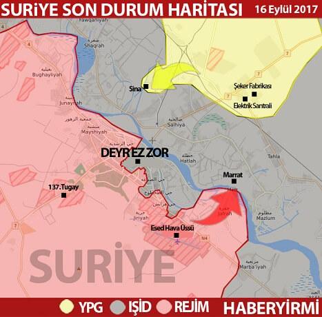 Deyrizor son durum harita 16 Eylül 2017: