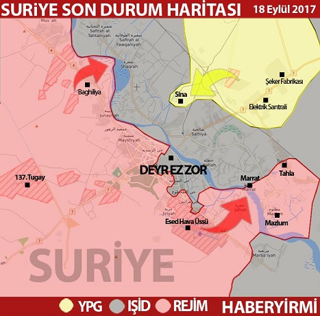 Deyrizzor son durum harita 18 Eylül 2017