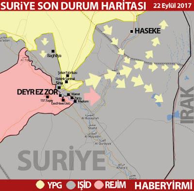 Suriye Deyrizor son durum harita: Oklar: YPG ve rejimin ilerleme hatları