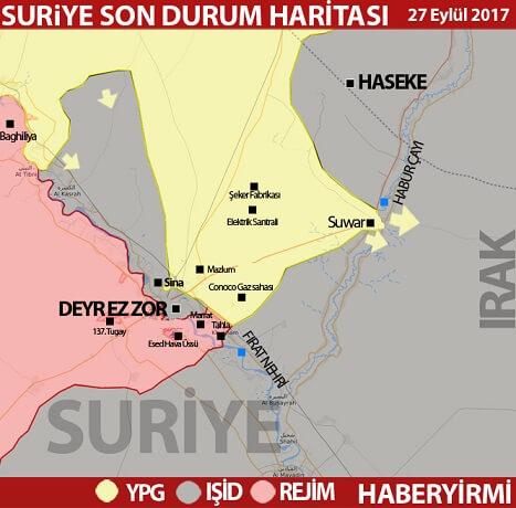 Deyr ez Zor son durum harita 27 Eylül 2017