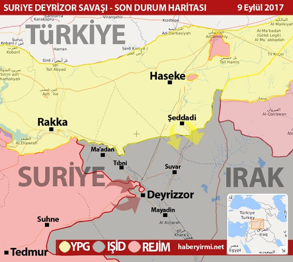 Deyrezzor (Deyr Ez Zor, Deyrizor) son durum harita 9 Eylül 2017