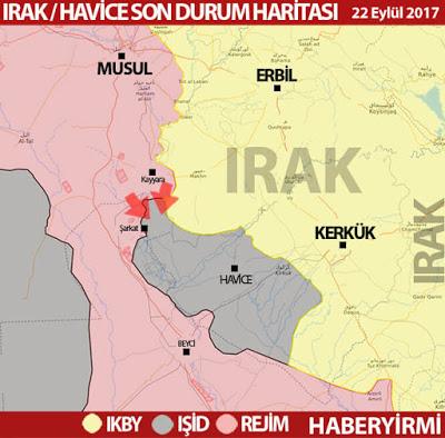 Kerkük'e bağlı Havice ilçesinde son durum harita 22 Eylül 2017