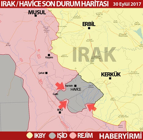 Irak: Kerkük/Havice son durum harita 30 Eylül 2017