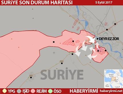 Suriye son durum harita: Suriye doğusu Deyr Ez Zor kenti. Rejim saldırı hattı