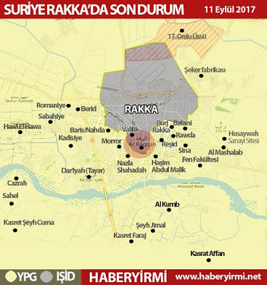 Rakka son durum haritası 11 Eylül 2017